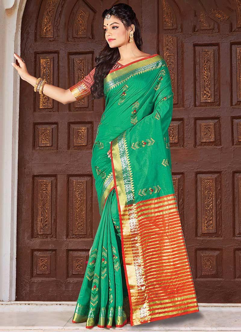 Cotton Classic Saree in Green