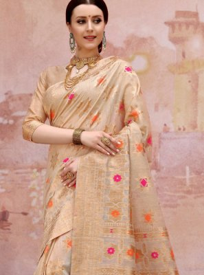 Cotton Cream Designer Traditional Saree