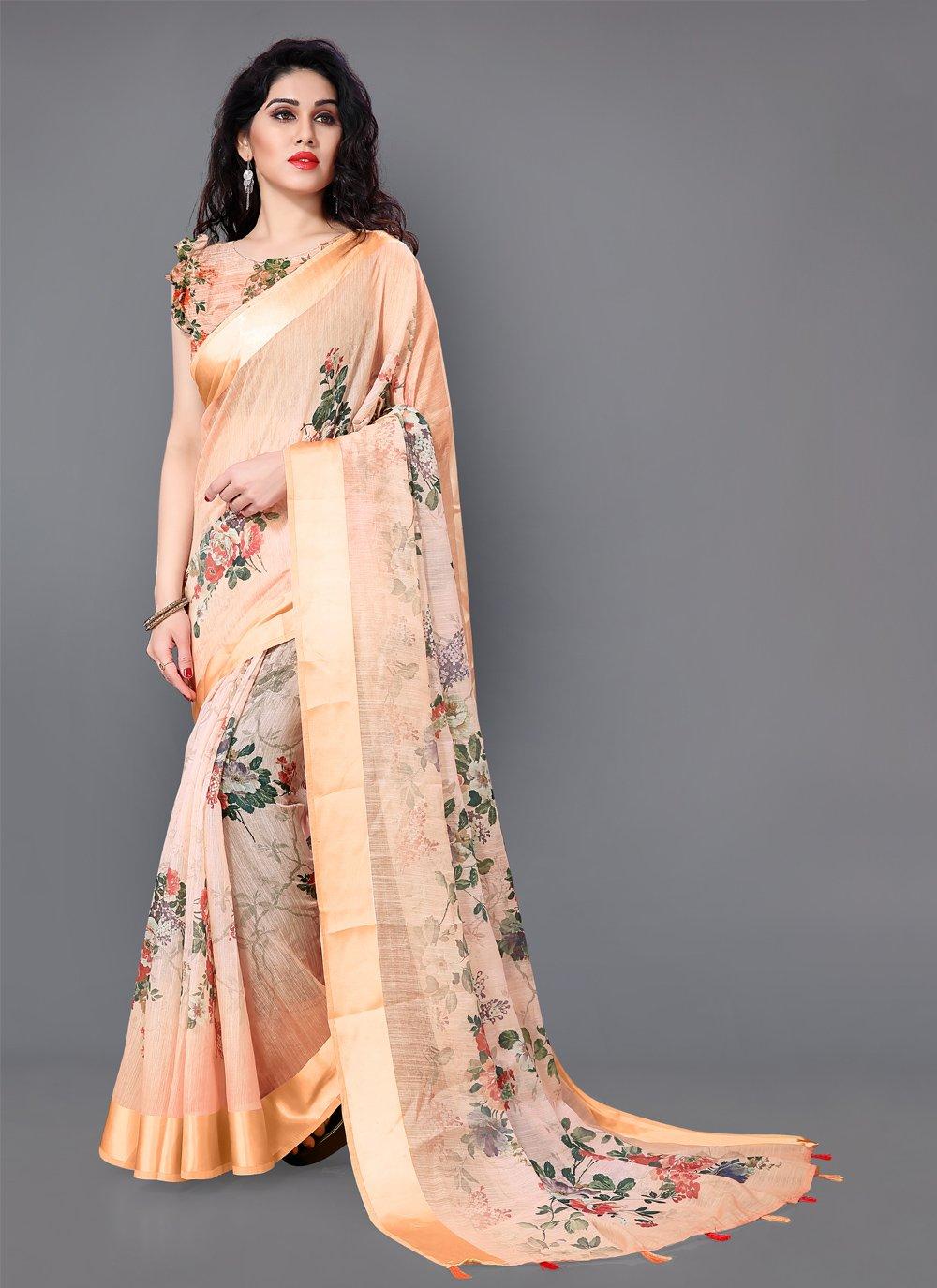 Cotton Cream Floral Print Trendy Saree