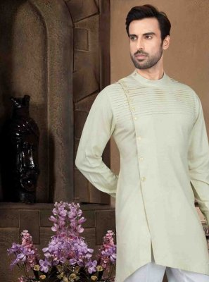 Cotton Cream Kurta Pyjama