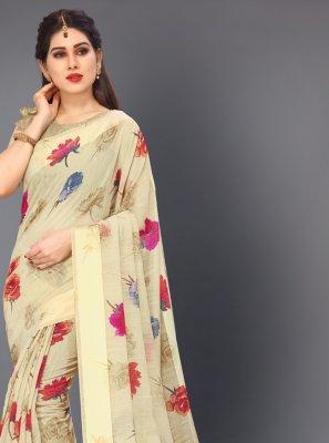 Cotton Cream Printed Classic Saree