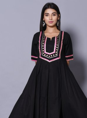 Cotton Designer Gown in Black
