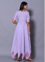 Cotton Designer Gown in Purple