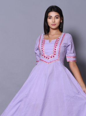 Cotton Designer Gown in Purple