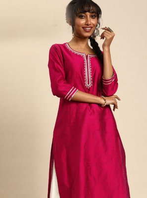 Cotton Designer Kurti in Pink