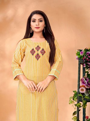 Cotton Designer Kurti in White and Yellow