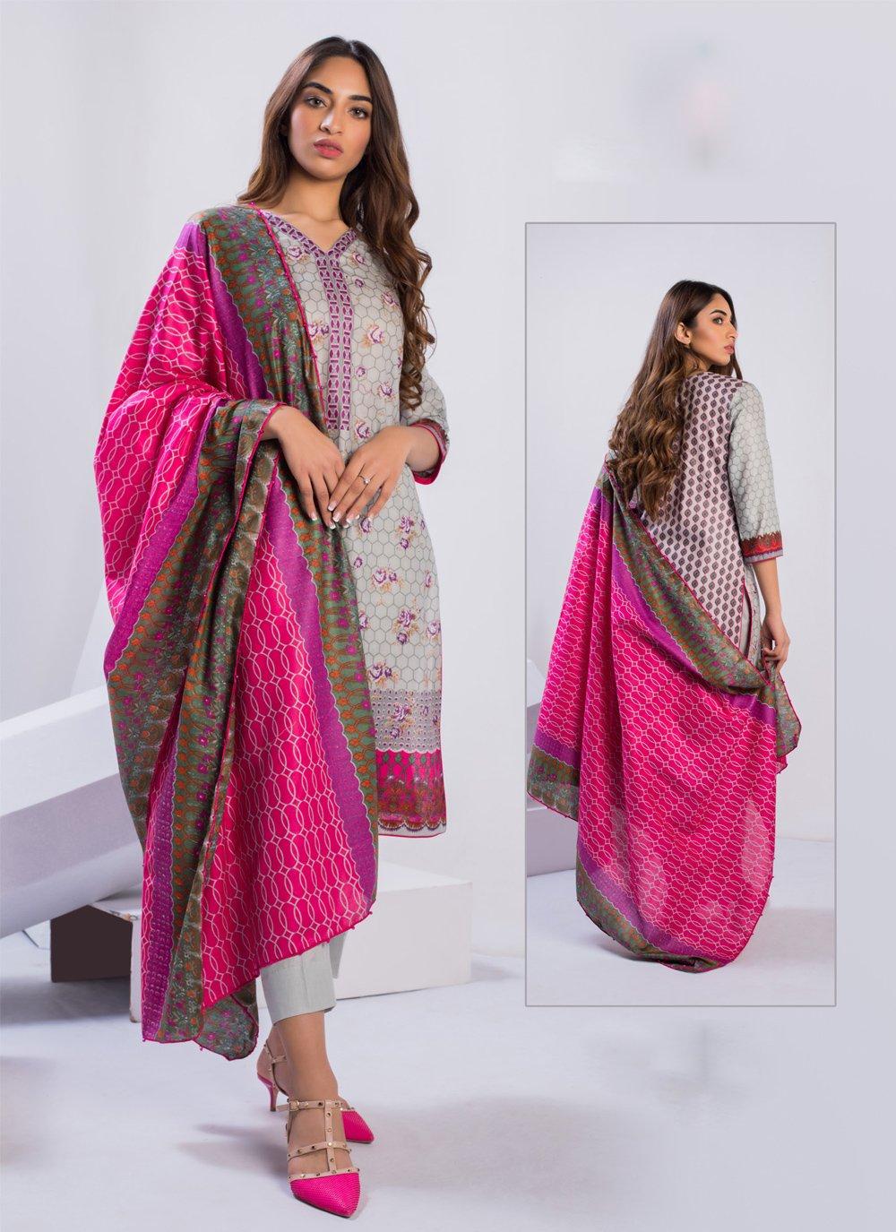 Cotton Designer Pakistani Suit in Grey