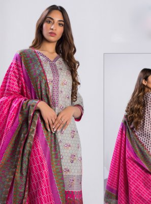 Cotton Designer Pakistani Suit in Grey