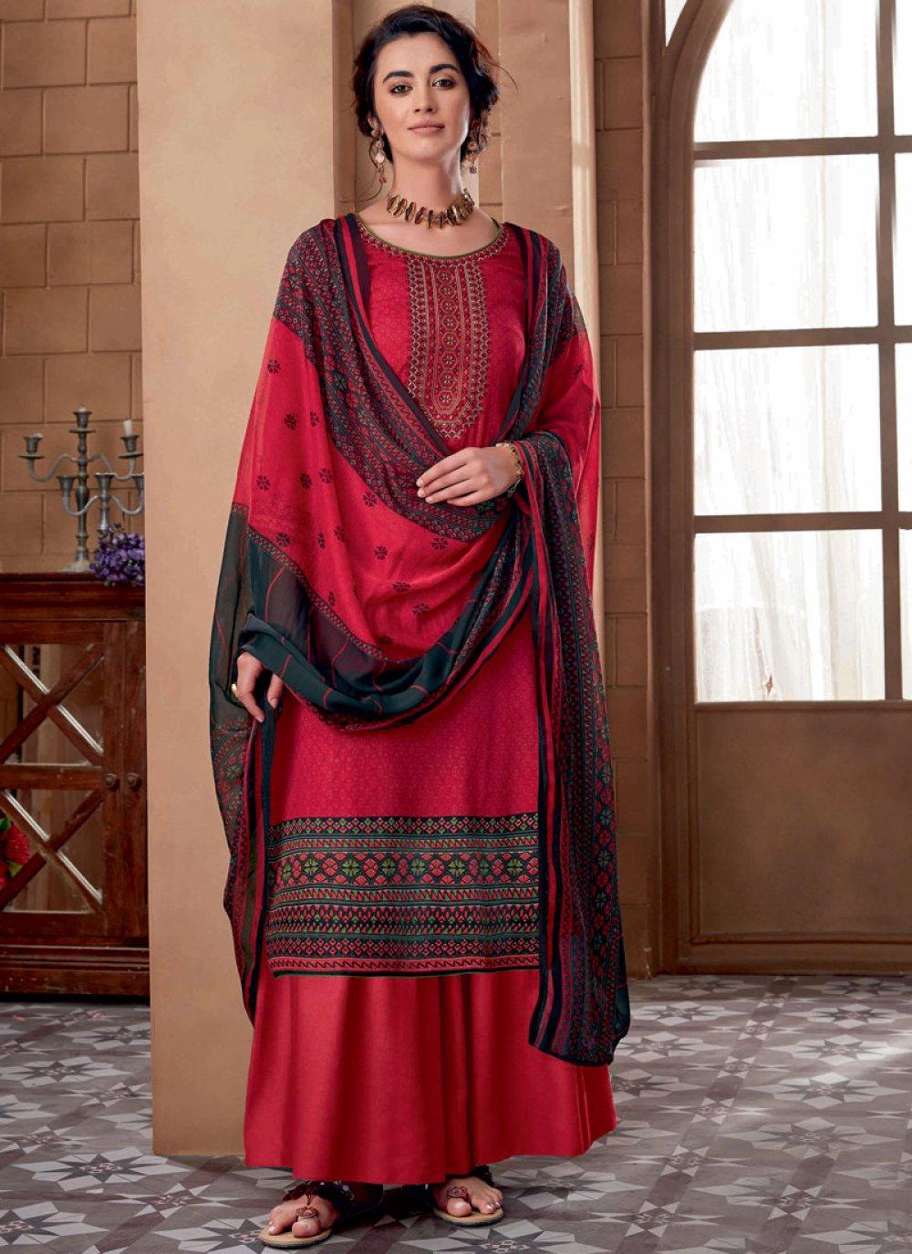 Cotton Designer Palazzo Suit in Red
