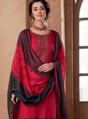 Cotton Designer Palazzo Suit in Red