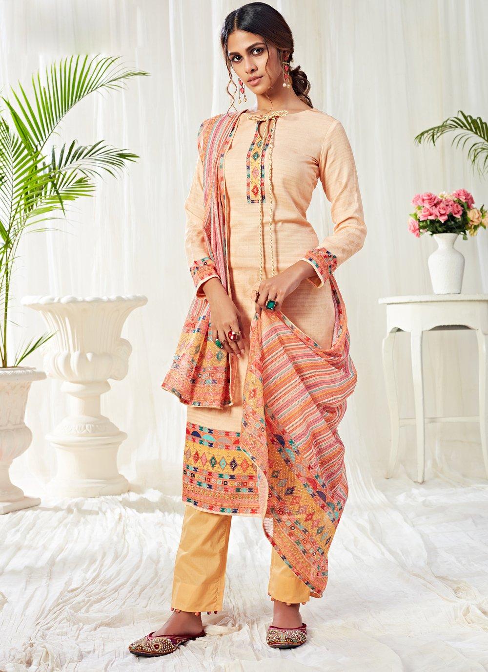 Cotton Designer Salwar Kameez in Cream