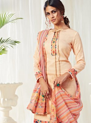 Cotton Designer Salwar Kameez in Cream
