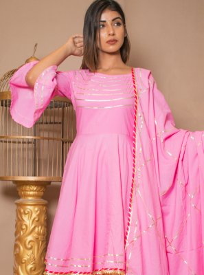 Cotton Designer Salwar Kameez in Pink
