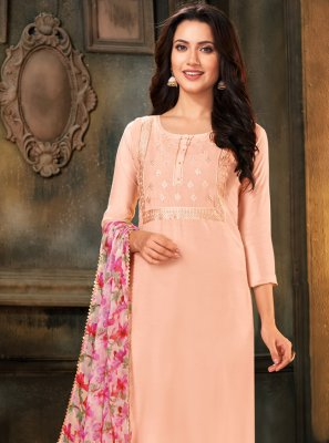 Cotton Designer Salwar Suit in Peach