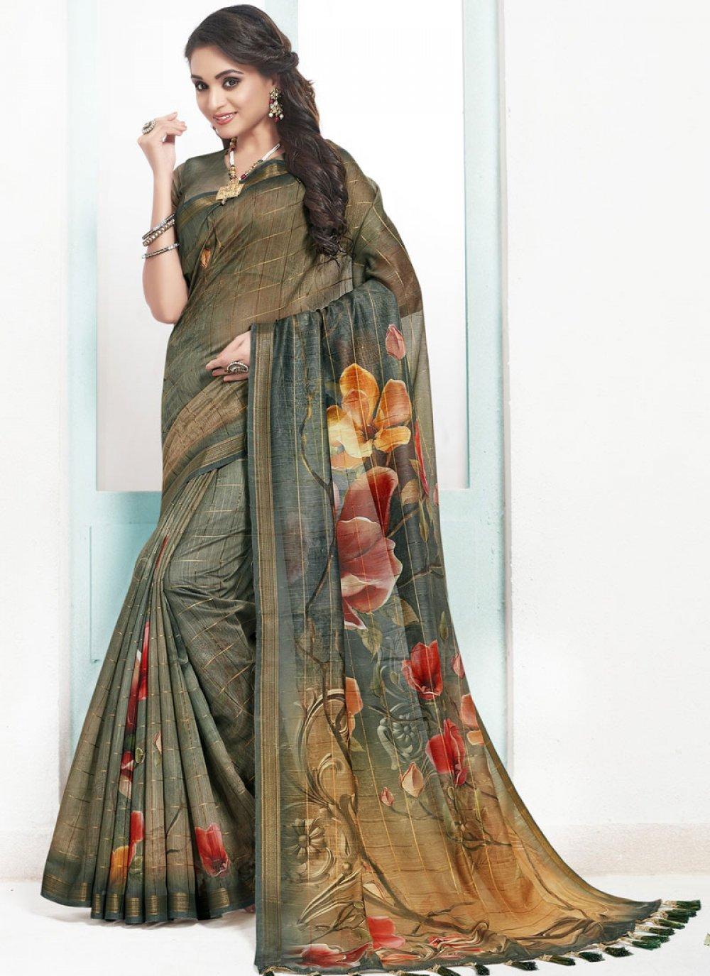 Cotton Designer Traditional Saree in Green