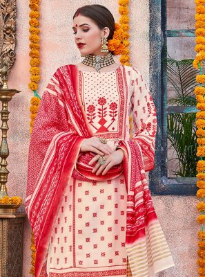 Cotton Digital Print Cream and Red Designer Palazzo Salwar Kameez