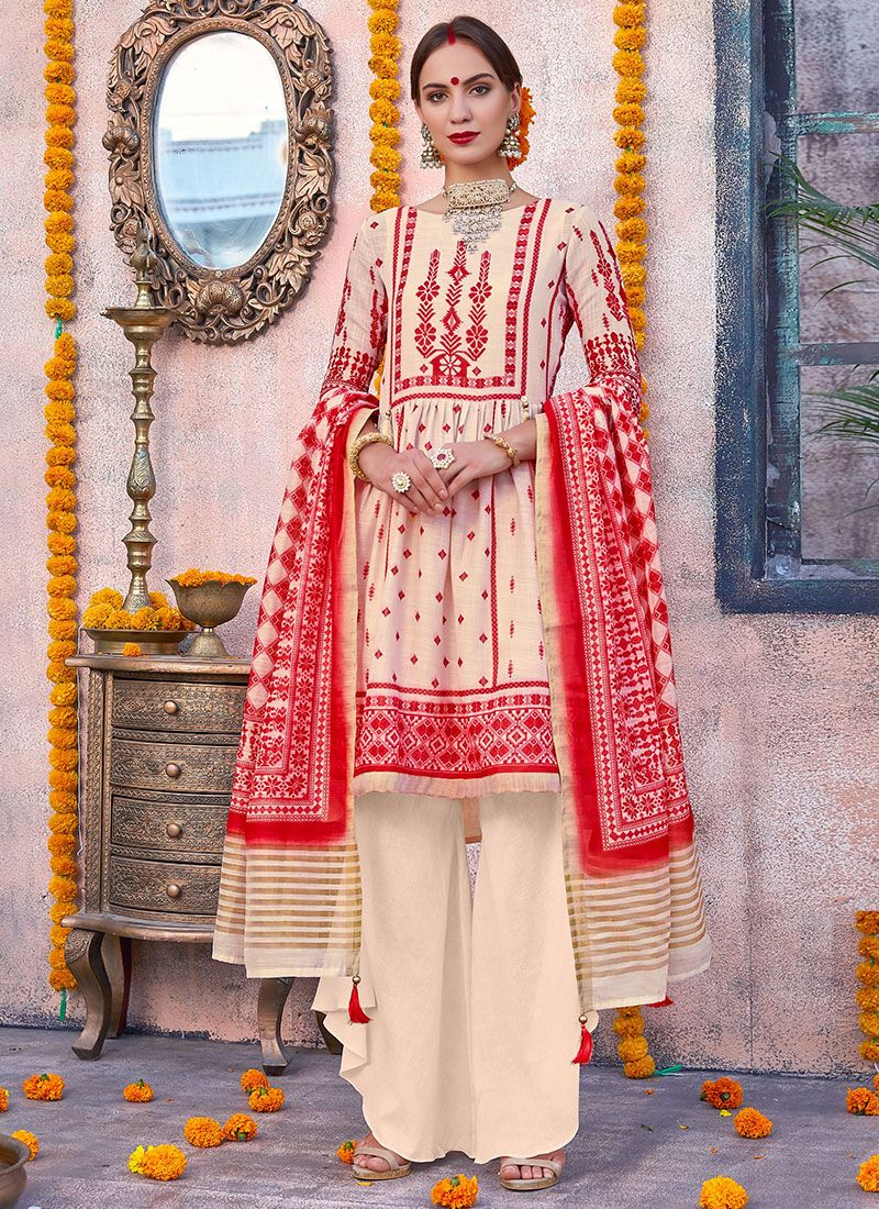 Cotton Digital Print Designer Palazzo Salwar Kameez