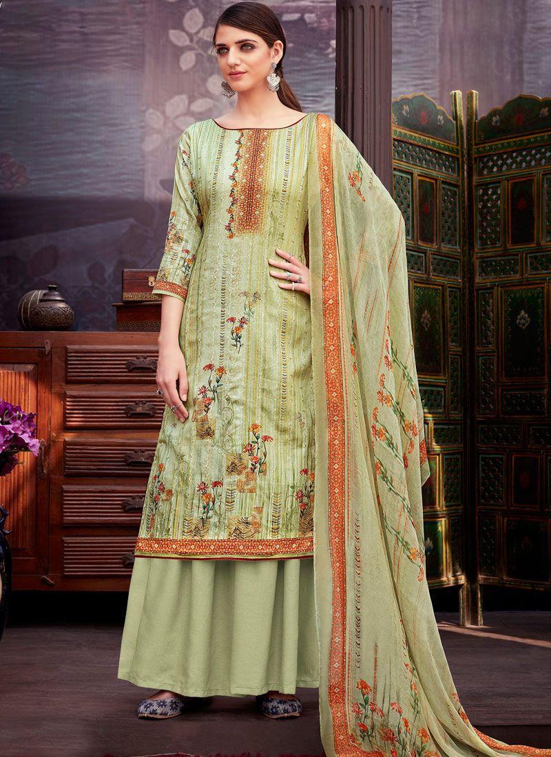 Cotton Digital Print Green Designer Suit
