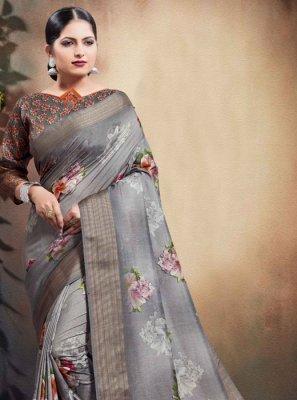 Cotton Digital Print Grey Designer Saree