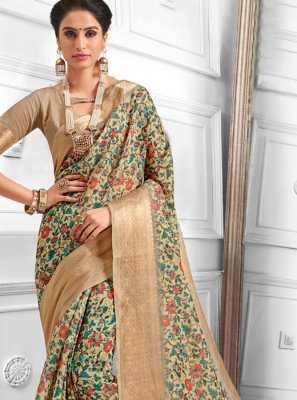 Cotton Digital Print Multi Colour Casual Saree