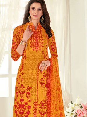 Cotton Digital Print Orange Designer Palazzo Salwar Kameez