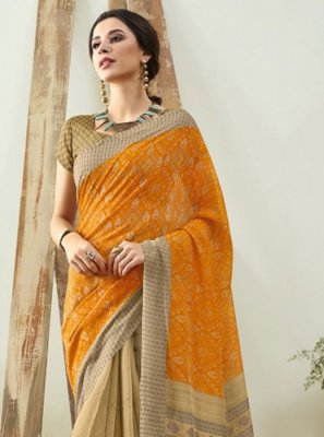 Cotton Digital Print Orange Saree