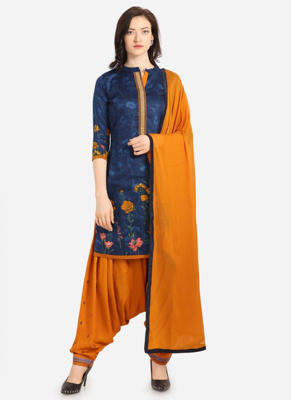 Cotton Digital Print Patiala Salwar Kameez in Blue