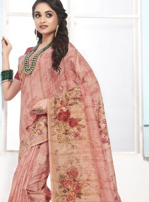 Cotton Digital Print Pink Designer Traditional Saree