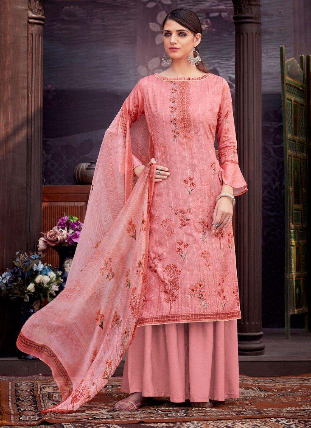 Cotton Digital Print Pink Trendy Palazzo Salwar Suit