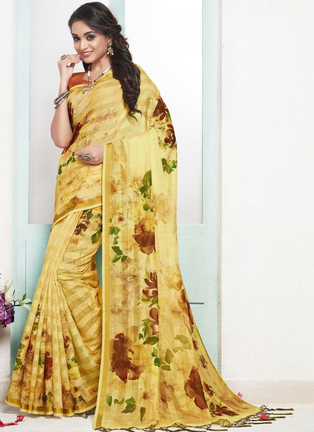Cotton Digital Print Yellow Designer Traditional Saree
