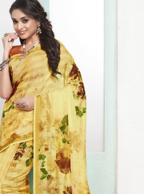 Cotton Digital Print Yellow Designer Traditional Saree