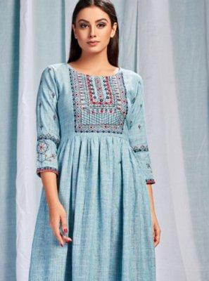 Cotton Embroidered Aqua Blue Party Wear Kurti
