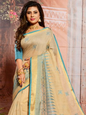 Cotton Embroidered Beige Casual Saree