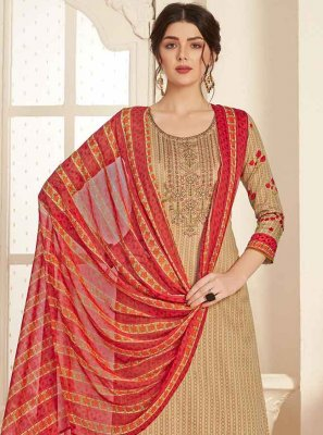 Cotton Embroidered Beige Trendy Salwar Suit