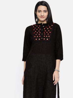 Cotton Embroidered Black Casual Kurti
