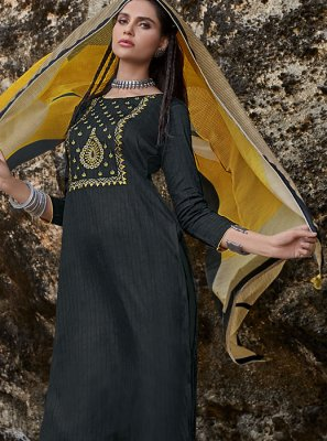 Cotton Embroidered Black Designer Pakistani Suit