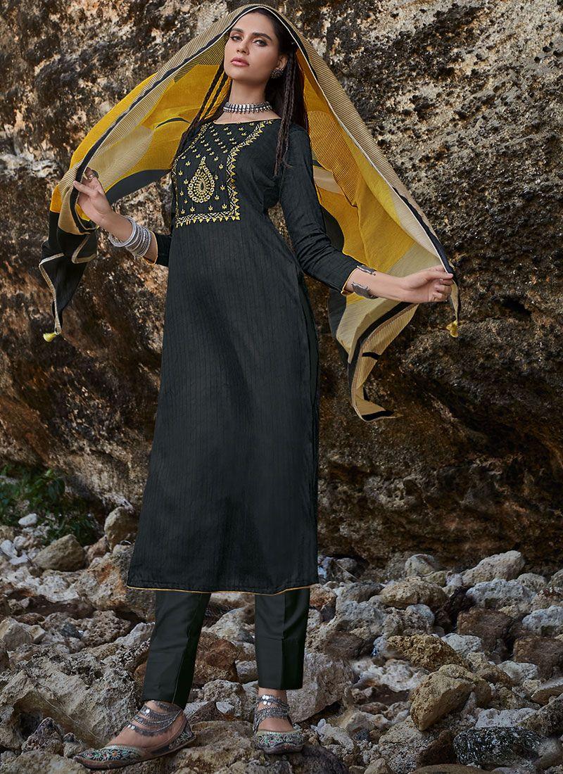 Cotton Embroidered Black Designer Pakistani Suit