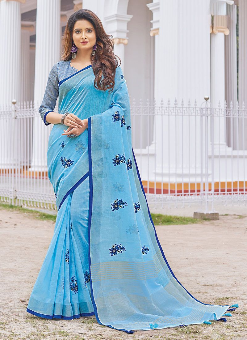 Cotton Embroidered Blue Casual Saree
