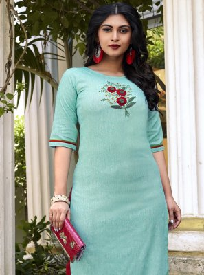 Cotton Embroidered Casual Kurti in Aqua Blue