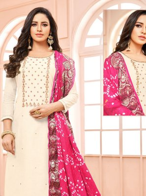 Cotton Embroidered Churidar Designer Suit in Off White
