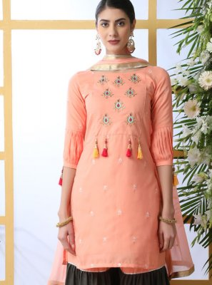 Cotton Embroidered Designer Palazzo Suit