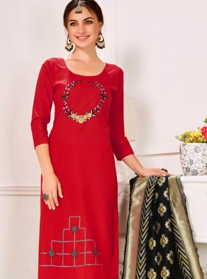 Cotton Embroidered Designer Salwar Kameez in Red