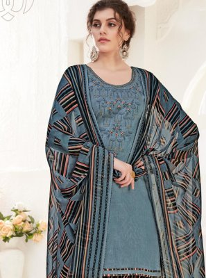 Cotton Embroidered Designer Suit in Grey
