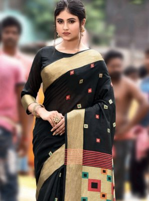 Cotton Embroidered Designer Traditional Saree in Black