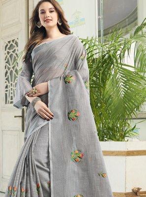 Cotton Embroidered Grey Designer Saree