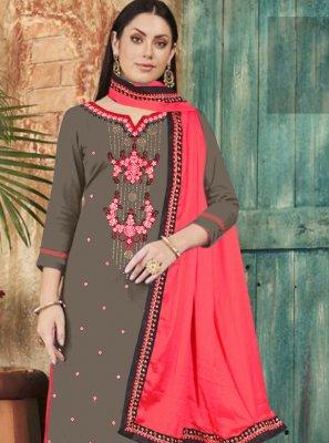Cotton Embroidered Grey Palazzo Designer Salwar Kameez