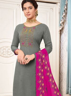 Cotton Embroidered Grey Salwar Suit