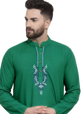 Cotton Embroidered Kurta in Green
