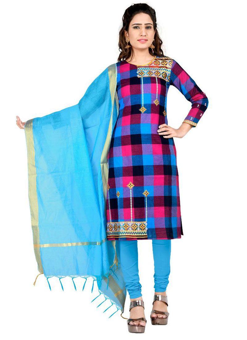 Cotton Embroidered Multi Colour Churidar Salwar Kameez