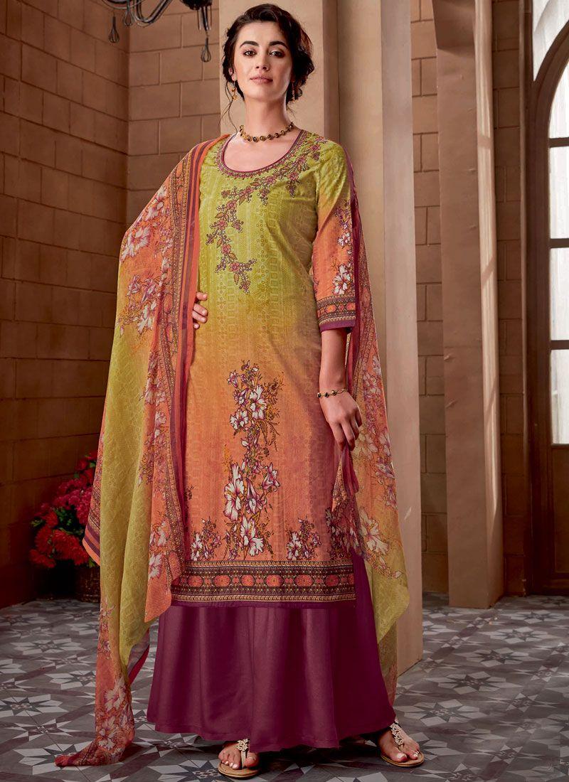 Cotton Embroidered Multi Colour Designer Palazzo Suit
